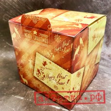 """Коробка для кружки """"Новый год оранжевая"""""""